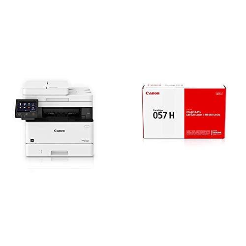Canon Imageclass MF445dw - All in One, Wireless, Mobile Ready Duplex Laser Printer, White & Canon Genuine Toner Cartridge 057 Black, 1-Pack, for Canon imageCLASS MF449dw, MF448dw, MF445dw