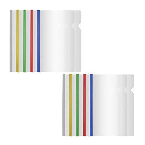 10 pz Slider ispessito Rapporti Copertine per A4 Riprendi Presentazioni di Carta a Colori Misti Scorrevole Raccoglitore Trasparente Rapporti Copre Cartella per la Classificazione dei Documenti