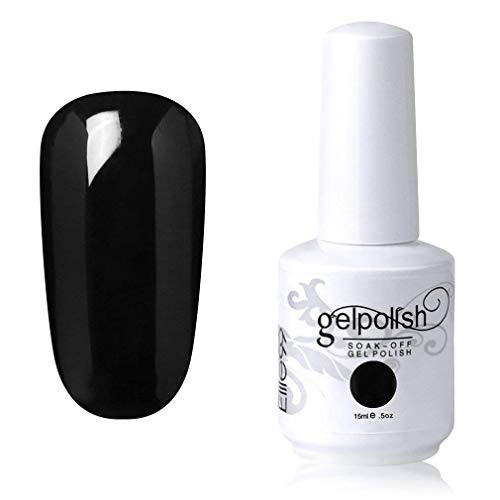Elite99 Smalto Semipermente per Unghie in Gel UV LED Smalti per Unghie Soak Off per Manicure Nero 15ML - 1348