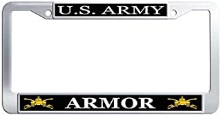 Dongsmer US Army Armor License Plate Frame Stainless Steel Car Tag Holder