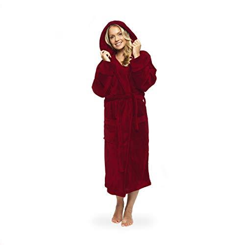 Lumaland Luxury Mikrofaser Bademantel mit Kapuze für Damen und Herren in verschiedenen Größen und Farben Rot S