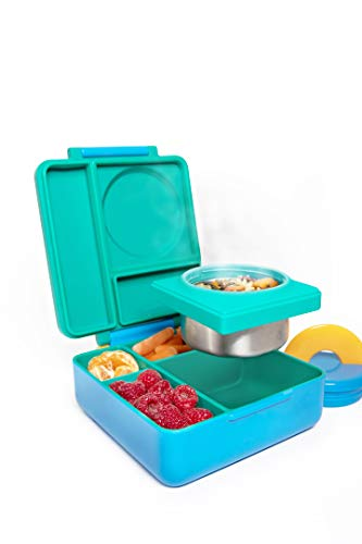OmieBox Bento Box for Kids - Insulated Bento Lunch Box with Leak Proof Thermos Food Jar - 3 Compartments, Two Temperature Zones - (Meadow) (Single)