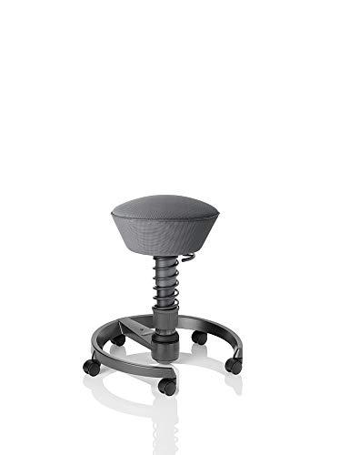 aeris swopper AIR ergonomischer Bürostuhl mit Rollen | Sitzbezug AIR-Climate Silver | Feder medium (60-120 kg) | Basisfarbe anthrazit | höhenverstellbarer Drehstuhl, Computerstuhl, Drehhocker
