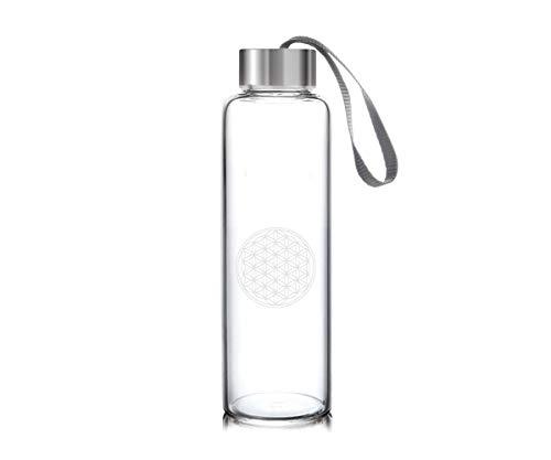 JOSKA Trinkflasche aus Kristallglas inkl. Lebensblume Gravur für 0,5L Inhalt