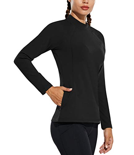 BALEAF Women's Thermal Running Gear for Cold Weather with Pocket Fleece Long Sleeve Running Shirts Tops Black XS