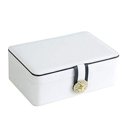 QWSNED Caja para anillos, caja de almacenamiento de joyería de cuero de gran capacidad de 2 capas, caja de joyería portátil de viaje, para pendientes, anillos, relojes, collares