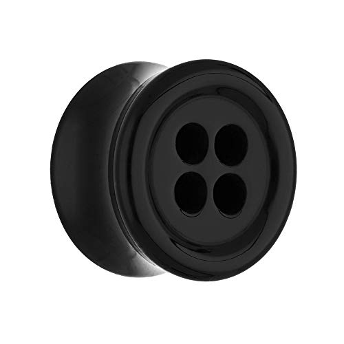 Treuheld® | 8mm Knopf Ohr Plug/Button Flesh Tunnel | Schwarz | Acryl/Kunststoff | Double Flared Ohrtunnel | hautfreundlich & antiallergen