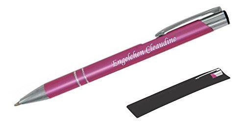 Mitbringsel & Geschenk in Premium-Qualität: personalisierter Metall-Kugelschreiber mit Gravur, Stift mit Name (Rosa)