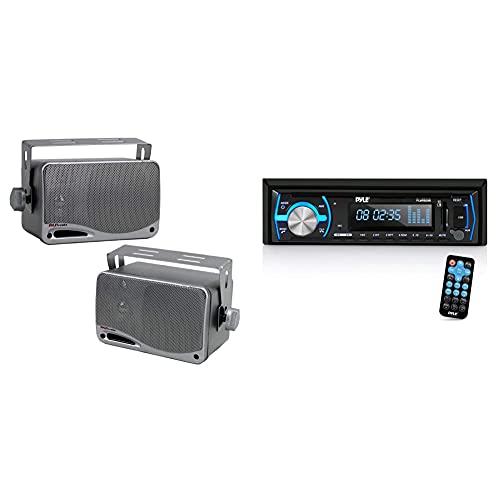 "3-Way Waterproof Marine Box Speakers - 3.5"" 200 Watt Speaker System - Pyle PLMR24S(Silver) & Marine Bluetooth Stereo Radio - 12v Single DIN Style Boat in Dash Radio Receiver System - PLMRB29B (Black)"