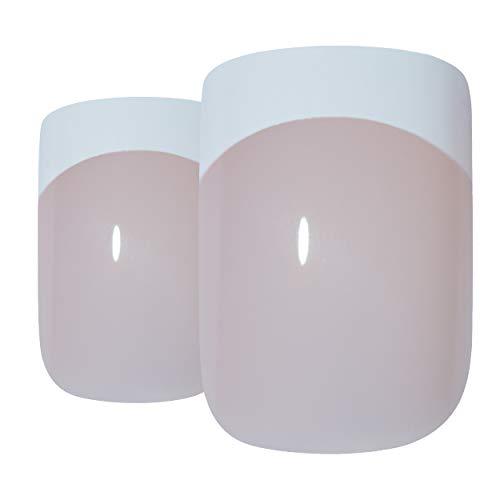 Uñas Postizas Bling Art francés Blanco Glossy 24 Squoval Medio Falsas puntas acrílicas con pegamento