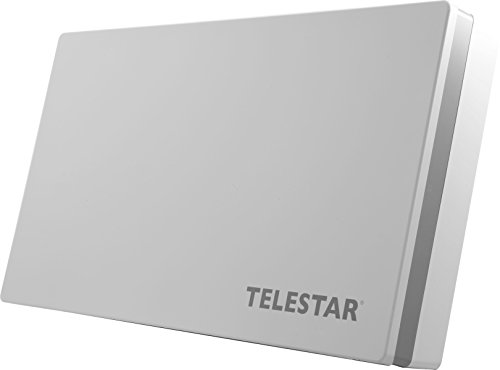 Telestar Digiflat 2 Twin Sat Flachantenne für 2 Teilnehmer (LNB: 0,2dB, 33,7 dBi Gewinn, Fenster-Wand/Masthalterung, Kompass, Montagewerkzeug) weiß