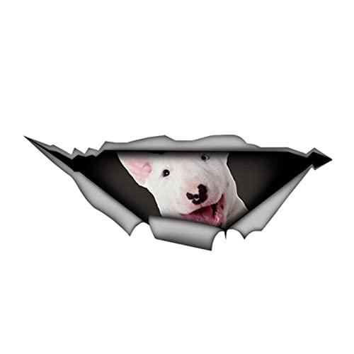 Pegatina de coche de personalidad Bull Terrier 3D Vinilo impermeable Ventana de coche Alta calidad Accesorios decorativos PVC 13cm x 5cm (Color Name : Beige, Size : 26cm x 10cm)