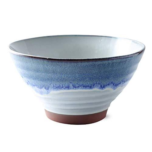 Cuenco de cerámica para cereales de Ramen, cuenco de cerámica con rosca japonesa, complejo de gu shala, cuenco de postre de fideos instantáneos, color 950 ml, tamaño: azul)