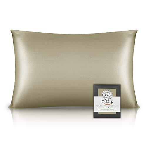 OLESILK Funda de almohada de seda 100% Mulbery con cremallera oculta para el cabello y la piel, ambos lados 16 mm Charmeuse caja de regalo 1pc - gris pardo, 50 x 75 cm