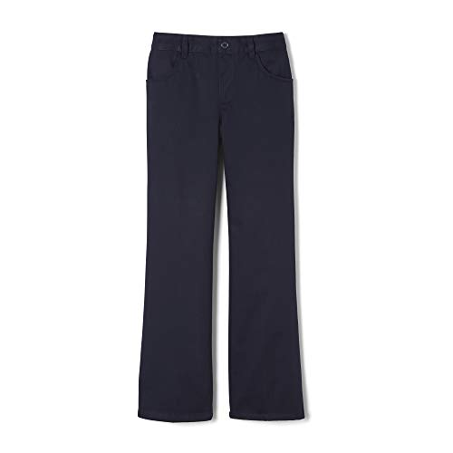 French Toast Girls' Pull-On Twill Pant (Standard & Plus), Bootcut Navy, 6