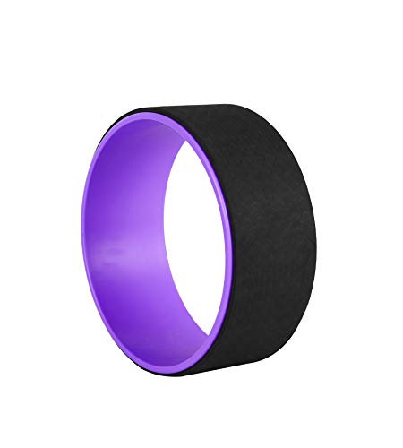 Exerz Rueda de Yoga/Rodillo de Pilates/Liberación de la Tensión Accesorio de Yoga - para el Estiramiento, el Equilibrio, el Aumento de la flexibilidad (Púrpura/Negro)