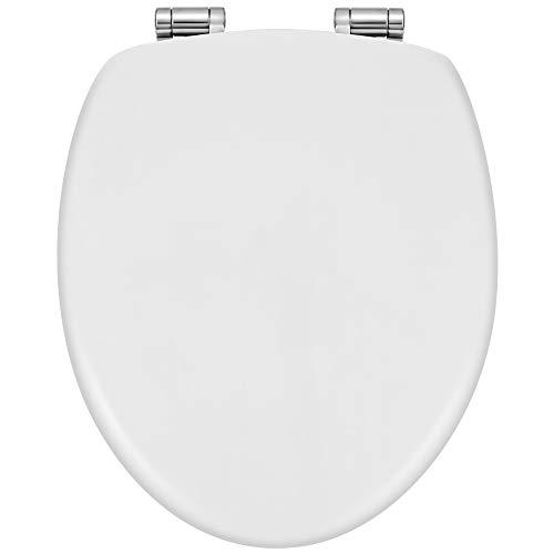 Sanwood WC Sitze 37,5 x 44 cm, antibakterielle Klodeckel aus MDF-Holzkern, universelle O-Form, schnell zu reinigende WC Sitz, klassisch weißer Look Toilettensitz
