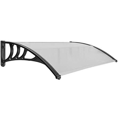 PrimeMatik - Beschermdak 150x80 cm donkergrijs. Partytent voor deuren en ramen met zwarte steun