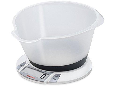 Soehnle Digitale Küchenwaage Olympia Plus mit 5 Kilo Tragkraft und 1-g-Wiegepräzision, Waage mit abnehmbarer Rührschüssel, elegante Waage für die Küche mit LCD-Anzeige und Abschaltautomatik, weiß