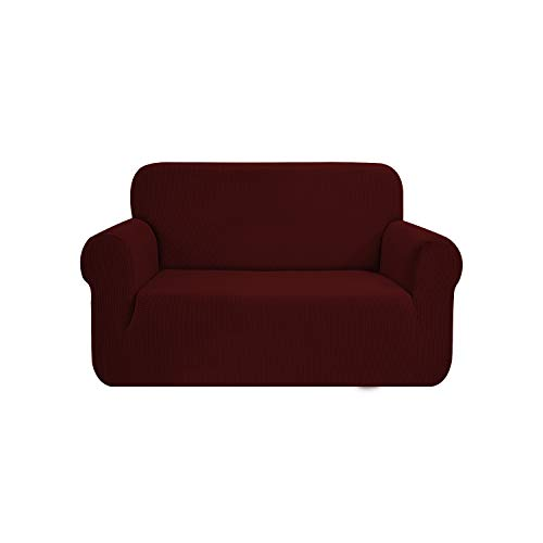 SAMSTEX Stylish Sofa Cover Stretch 1-Piece Sofa Slipcovers High Stretch Sofa Covers 2 Seater Thick Soft Loveseat Sofa Protector Machine Washable Non Slip Couch Covers (2 Seater, Wine Red )