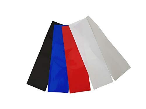2m Akku Schrumpfschlauch PVC von 20mm bis 200mm Flachmaß, Farbwahl, Farbe:Schw/Rot/Blau/Weiß Je 1 Meter, Größe:30 mm