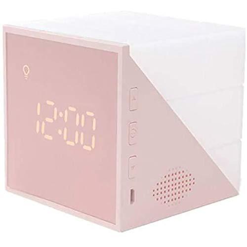 TaoToa Reloj cuadrado, reloj despertador de escritorio que muestra la hora, fecha, temperatura, control de voz, reloj despertador para dormitorio, dormitorio
