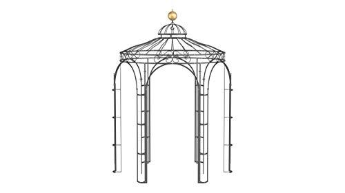 ELEO Siena wunderschöner Gartenpavillon Winterfest I Stabiler Rundpavillon Anthrazit Ø 2,1 m I Stabiler Rosenpavillon aus Schmiedeeisen mit Messingkugel I Pavillon für Garten