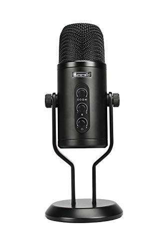 Amazon Basics - Micrófono de condensador profesional con USB, control de volumen y pantalla OLED, negro