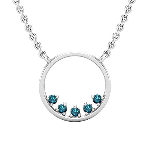 Dazzlingrock Collection Colgante redondo de 0,05 quilates de diamantes azules redondos con cadena de oro de 45,7 cm | oro blanco de 18 quilates