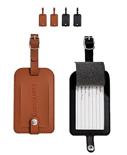 FunYoung Kofferanhänger mit Adressschild, Kunstleder Gepäckanhänger mit Namenschild für Koffer Reisetasche Trolley Luggage Tags (4er Set)
