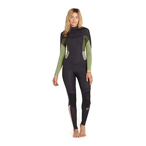 BILLABONG Womens 4 / 3mm Synergy Chest Zip-Neoprenanzug Green Tea - Thermal Warm Heat Layer-Schichten