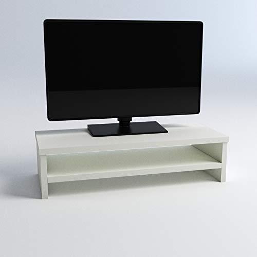 Henor Soporte Madera TV Monitor Elevador de Pantalla con Estante Intermedio 62x26.5x16 Cm Muebles de TV Soporte para TV. Soporta 50 Kg. Blanco