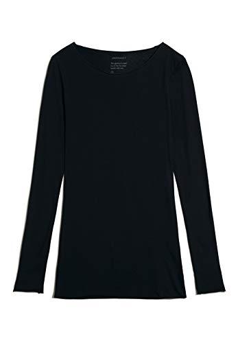 ARMEDANGELS EVAA - Damen Longsleeve aus Bio-Baumwolle M Black Shirts Longsleeve Rundhals Fitted