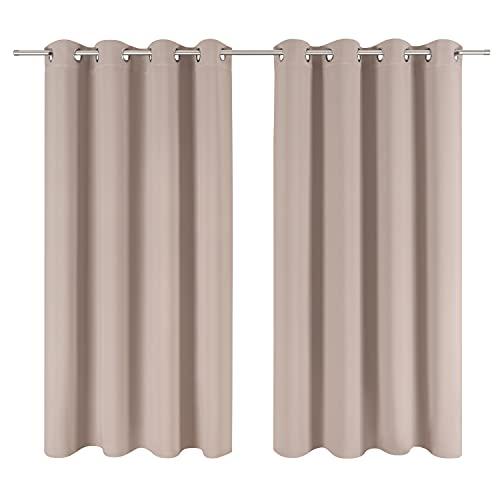 Blumtal Juego de 2 Cortinas Opacas para Interior - Cortinas Aislantes Térmicas, 117 x 138 cm, Topo