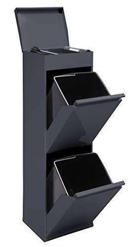 Arregui Top CR224-B Pattumiera per raccolta differenziata con ripiano superiore multiuso, 2 secchi, mobile in acciaio per differenziata, 2 x 17L (34L), grigio scuro antracite