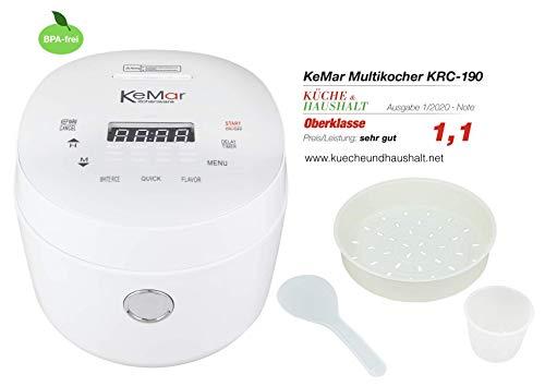 KeMar Kitchenware KRC-190 Reiskocher (500W, 1,8L,220V)| Klein und kompakt | Touch Display | Timer | 3D-Heating | Warmhaltefunktion | BPA-Frei | Dämpfeinsatz | Für Reis, Quinoa und Getreide