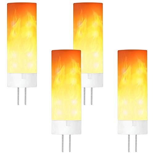 GRANVOO 4-er Pack G4 0.5W LED Flammen Lampe PC + Keramik Flammenfarbe 10lm 36X2835 SMD AC/DC 12V