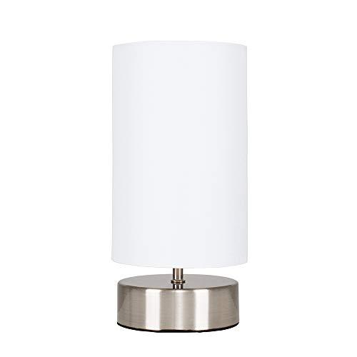MiniSun – Runde Touch Tischlampe in Chrom mit weißem Stoffschirm – Tischleuchte Stoffschirm – Tischleuchte Touch dimmbar, 3 Helligkeitsstufen (40W, E14) [Energieklasse A++]