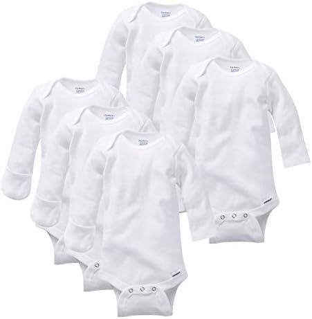 Gerber Baby 6 Pack Long Sleeve Mitten Cuff Onesies Bodysuit white Newborn product image