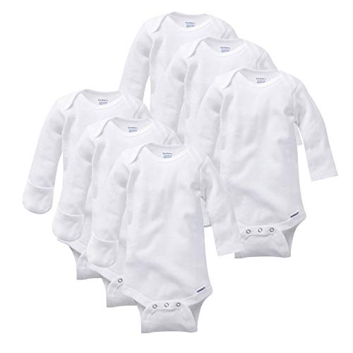 Image of the GERBER Baby 6-Pack Long-Sleeve Mitten-Cuff Onesies Bodysuit, White, Newborn