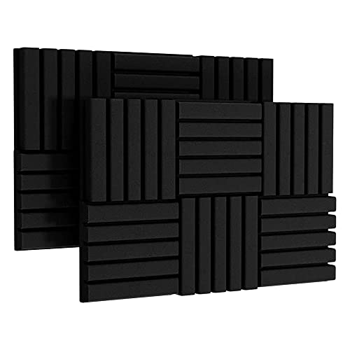 Huante 12Pack Self-Adhesive Acoustic Foam Panels 2 inchX12 inchX12 inch Sound Proof Foam Panels for Studio Sound Insulation