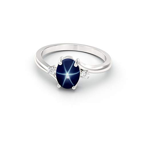 Genuine Blue Star Sapphire Sterling Silver 925 Ring with Diamonds/Oval-Shaped