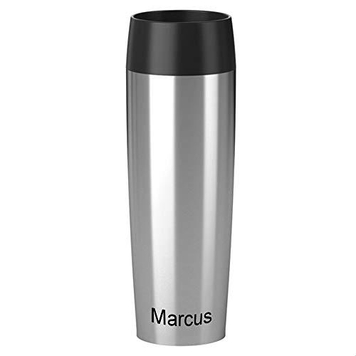 Emsa Isolierbecher MIT Gravur - UNTEN - (z.B. Namen) 500ml TRAVEL Mug Grande Manschette Edelstahl Silber mit persönlicher Rundgravur, Travelmug Kaffee & Tee Thermo to-go-Becher 100% auslaufsicher