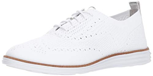 Cole Haan womens Originalgrand Stitchlite Wingtip Oxford Flat, Optic White Knit/Optic White, 7 US