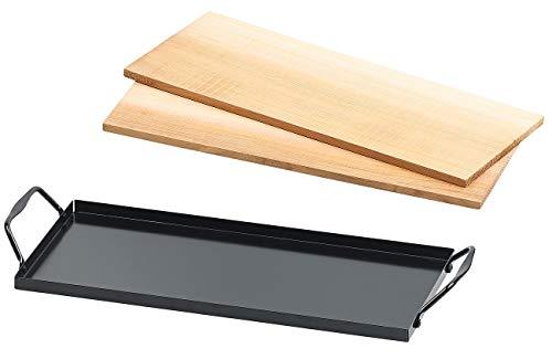 Rosenstein & Söhne Grillzubehör: 2 Zedernholz-Grillbretter für Holzkohle- & Gasgrills, mit Metallrahmen (Räucherbretter)