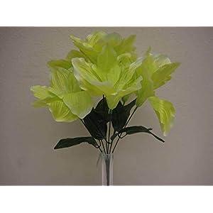 "JumpingLight 6 Bushes Green Amaryllis 6 Artificial Silk Flowers 16"" Bouquet 647GR Artificial Flowers Wedding Party Centerpieces Arrangements Bouquets Supplies"