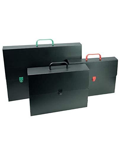 VALIGETTA polionda cartella portadocumenti portafogli nera con manico colorato mis. 53x38x5 cm