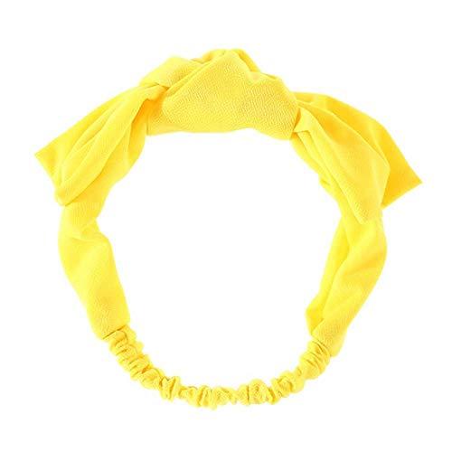 Bdrsjdsb Mode Femmes Couleur Unie Bowknot Bandeau Élastique Yoga Bande De Cheveux Accessoire Cheveux Chouchous Bandes Jaune