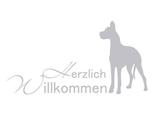 GRAZDesign Fenstertattoo Flur Herzlich Willkommen mit Hund, Fensterfolie, Glastattoo Eingang Tür, Fensteraufkleber / 76x40cm