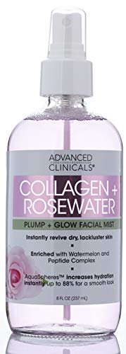Collagen + Rosewater Skin Reviving & Hydrating Face Mist Lightweight, Non-Greasy Toner Spray for Instant Hydration with Pure Rose Water and Premium Natural Extracts by Advanced Clinicals, 8 oz.